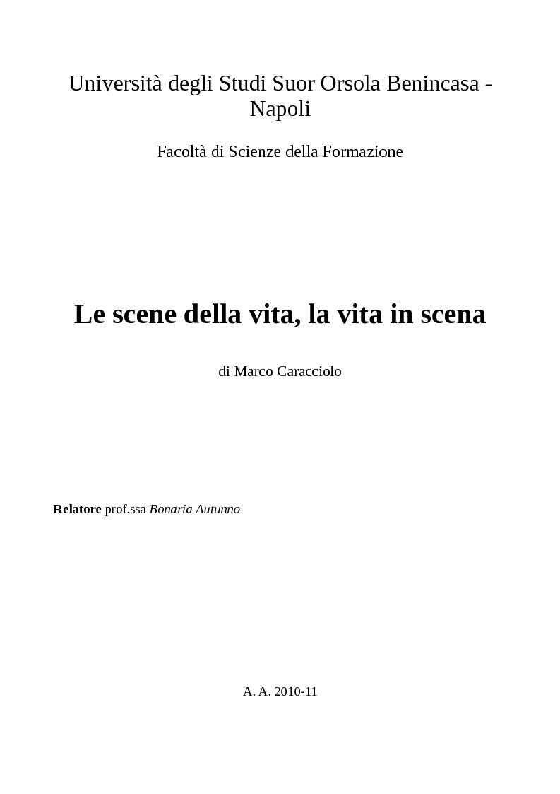 Anteprima della tesi: Le scene della vita, la vita in scena, Pagina 1