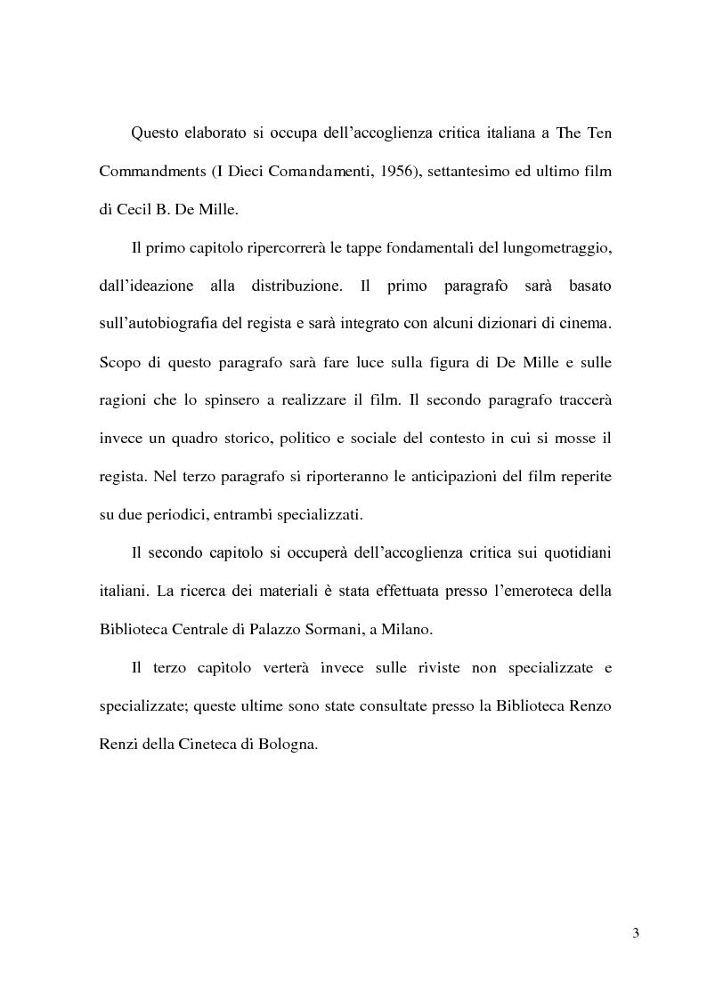 """Anteprima della tesi: L'accoglienza critica italiana a """"The Ten Commandments"""" (I dieci comandamenti, 1956) di Cecil B. De Mille, Pagina 2"""