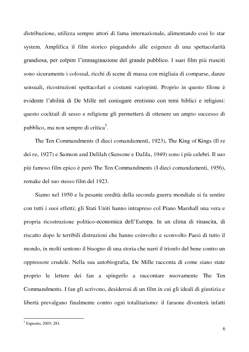 """Anteprima della tesi: L'accoglienza critica italiana a """"The Ten Commandments"""" (I dieci comandamenti, 1956) di Cecil B. De Mille, Pagina 5"""