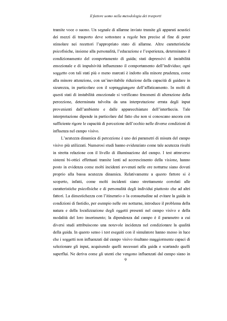 Anteprima della tesi: Lo studio dell'affaticamento e gli effetti sulla percezione visiva di un conducente alla guida attraverso applicazioni sul campo e con l'utilizzo del simulatore., Pagina 10
