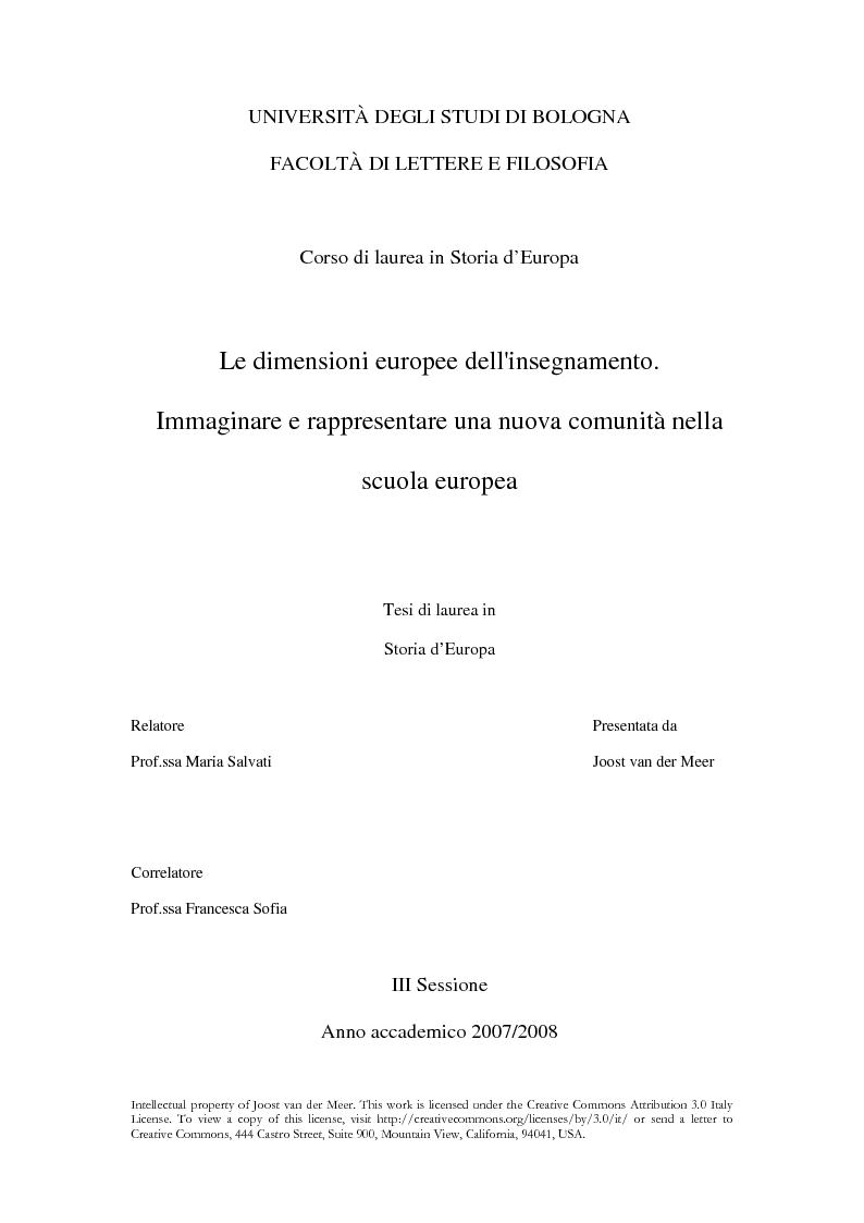Anteprima della tesi: Le dimensioni europee dell'insegnamento. Immaginare e rappresentare una nuova comunità nella scuola europea, Pagina 1