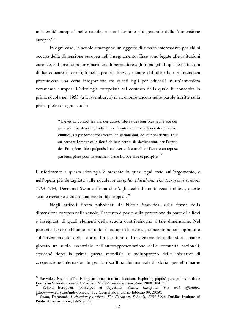Anteprima della tesi: Le dimensioni europee dell'insegnamento. Immaginare e rappresentare una nuova comunità nella scuola europea, Pagina 10