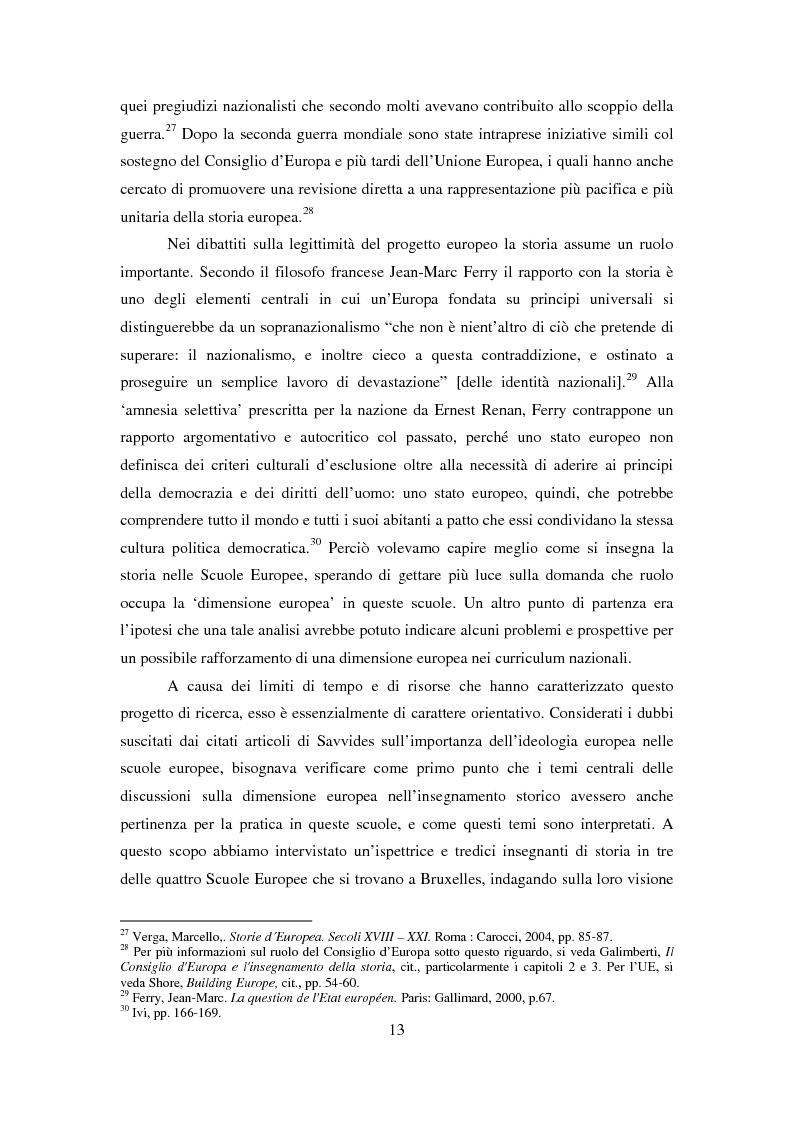 Anteprima della tesi: Le dimensioni europee dell'insegnamento. Immaginare e rappresentare una nuova comunità nella scuola europea, Pagina 11