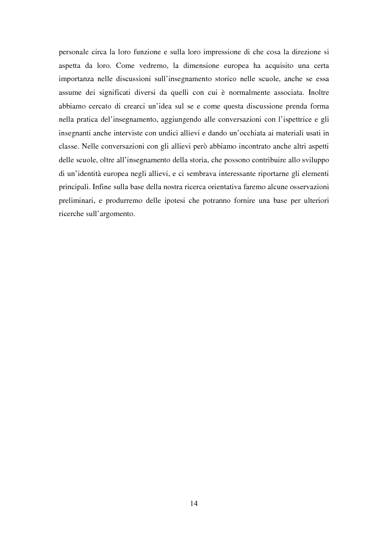 Anteprima della tesi: Le dimensioni europee dell'insegnamento. Immaginare e rappresentare una nuova comunità nella scuola europea, Pagina 12