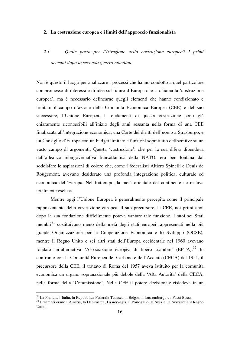 Anteprima della tesi: Le dimensioni europee dell'insegnamento. Immaginare e rappresentare una nuova comunità nella scuola europea, Pagina 14