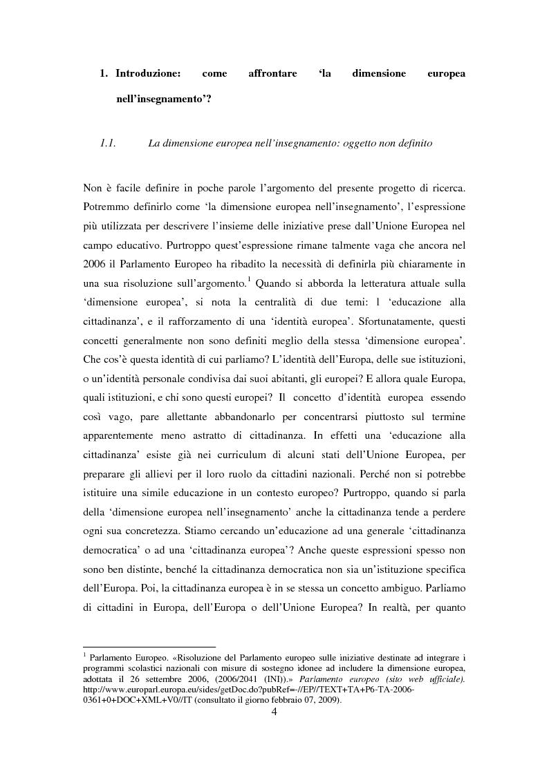 Anteprima della tesi: Le dimensioni europee dell'insegnamento. Immaginare e rappresentare una nuova comunità nella scuola europea, Pagina 2