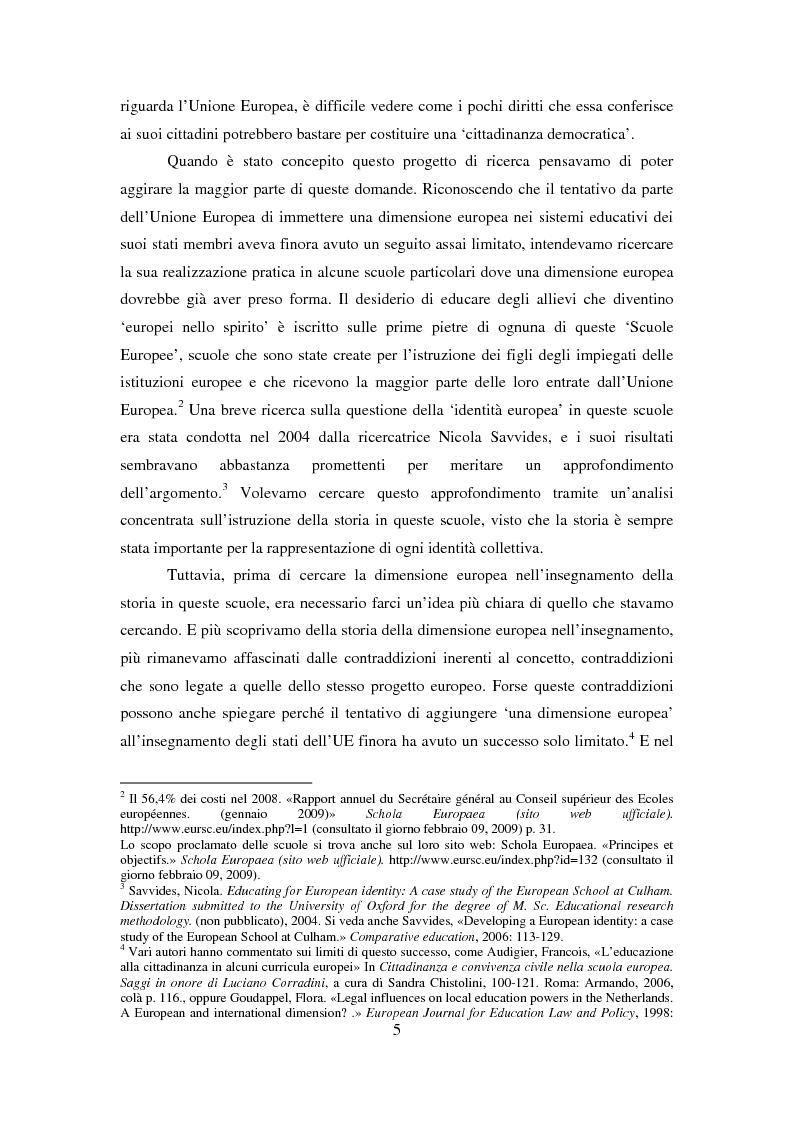 Anteprima della tesi: Le dimensioni europee dell'insegnamento. Immaginare e rappresentare una nuova comunità nella scuola europea, Pagina 3