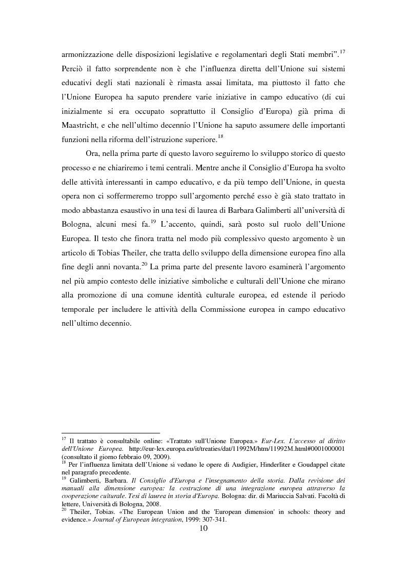 Anteprima della tesi: Le dimensioni europee dell'insegnamento. Immaginare e rappresentare una nuova comunità nella scuola europea, Pagina 8