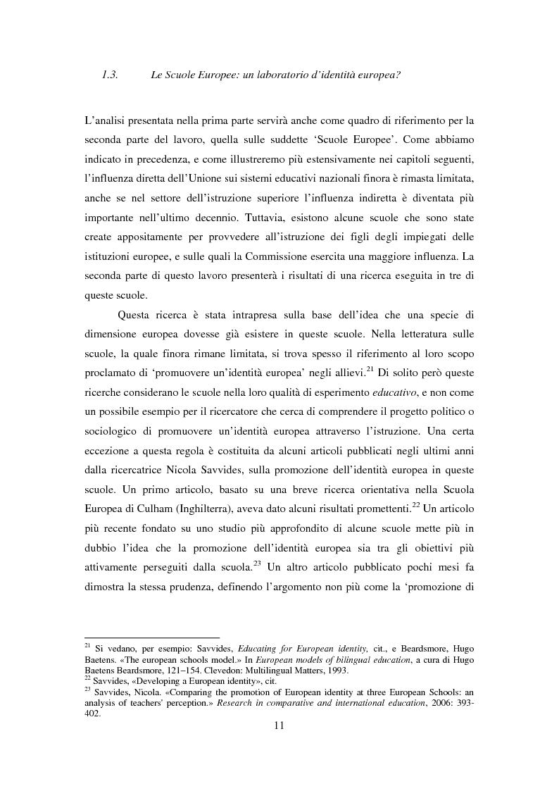 Anteprima della tesi: Le dimensioni europee dell'insegnamento. Immaginare e rappresentare una nuova comunità nella scuola europea, Pagina 9