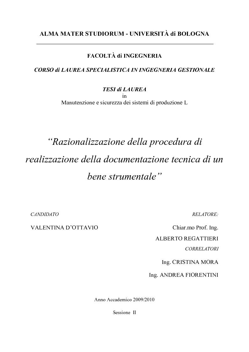 Anteprima della tesi: Razionalizzazione della procedura di realizzazione della documentazione tecnica di un bene strumentale., Pagina 1