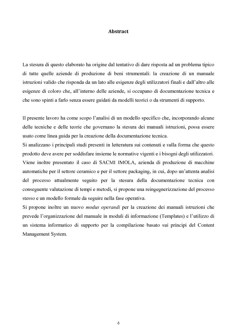 Anteprima della tesi: Razionalizzazione della procedura di realizzazione della documentazione tecnica di un bene strumentale., Pagina 2