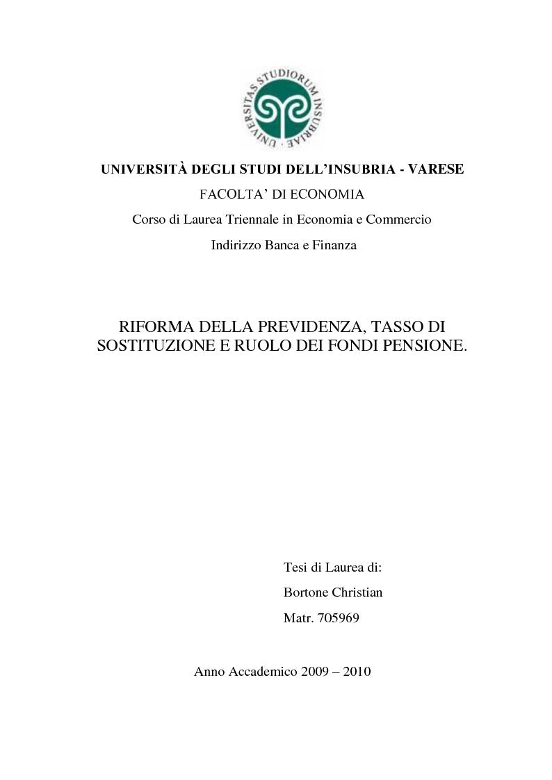 Anteprima della tesi: Riforma della previdenza, tasso di sostituzione e ruolo dei fondi pensione., Pagina 1