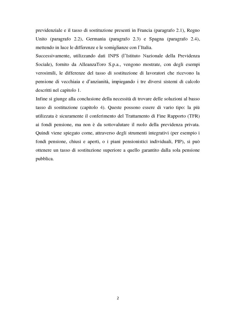 Anteprima della tesi: Riforma della previdenza, tasso di sostituzione e ruolo dei fondi pensione., Pagina 3