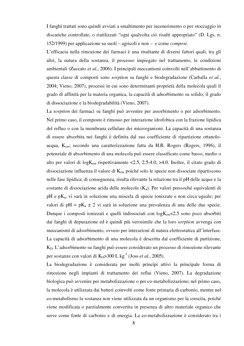 Anteprima della tesi: Effetto di alcuni farmaci per uso umano sulla qualità ecosistemica del Fiume Arbia (SI), Pagina 6