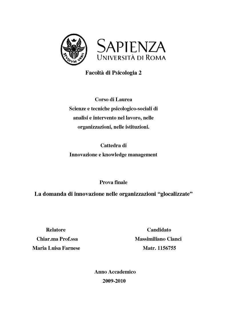 """Anteprima della tesi: La domanda di innovazione nelle organizzazioni """"glocalizzate"""", Pagina 1"""