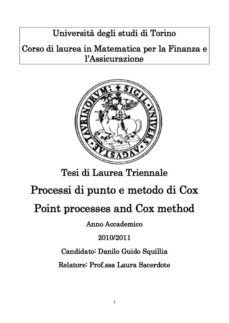 Anteprima della tesi: Processi di Punto e Metodo di Cox, Pagina 1