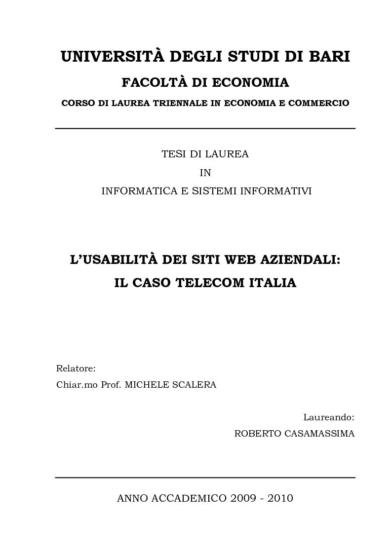 Anteprima della tesi: L'usabilità dei siti Web aziendali - Il caso Telecom Italia, Pagina 1