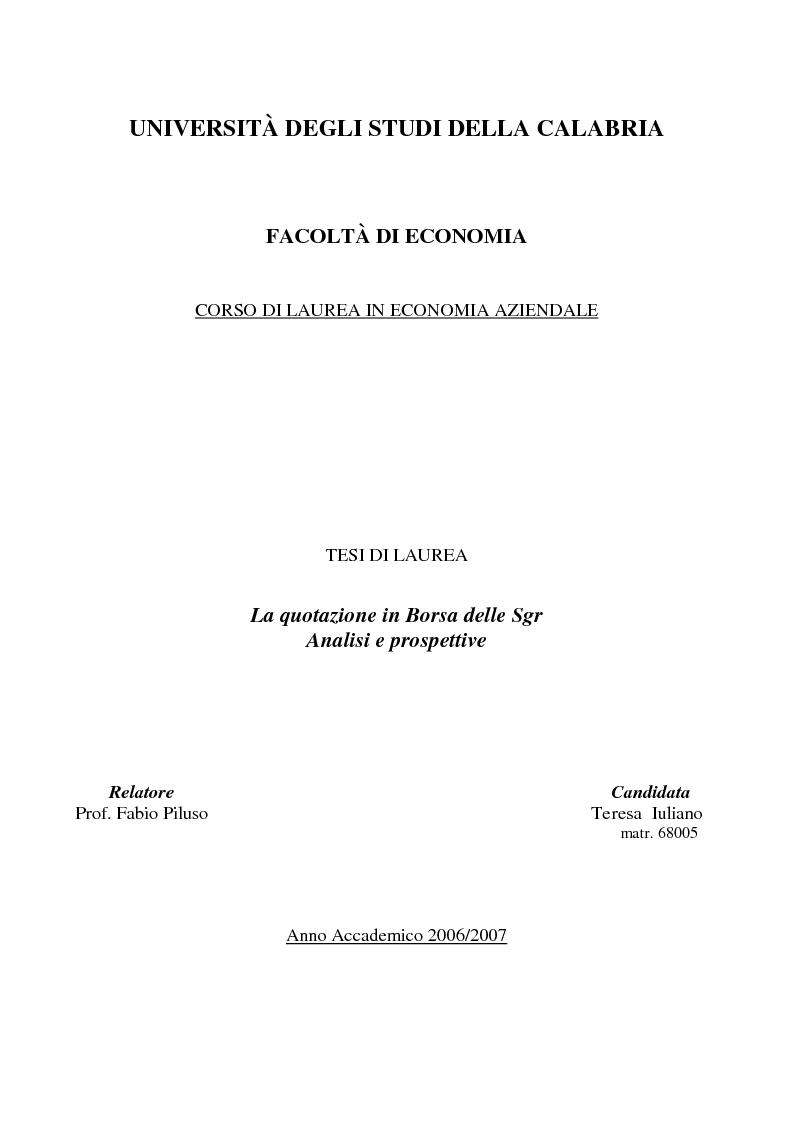 Anteprima della tesi: La quotazione in borsa delle SGR. Analisi e prospettive., Pagina 1