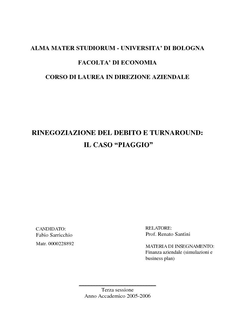 """Anteprima della tesi: Rinegoziazione del debito e ''Turnaround'': Il caso """"Piaggio"""", Pagina 1"""