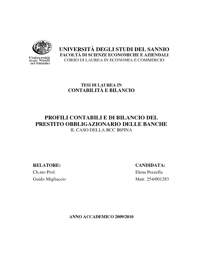 Anteprima della tesi: Profili contabili e di bilancio del prestito obbligazionario delle banche. Il caso della BCC Irpina, Pagina 1