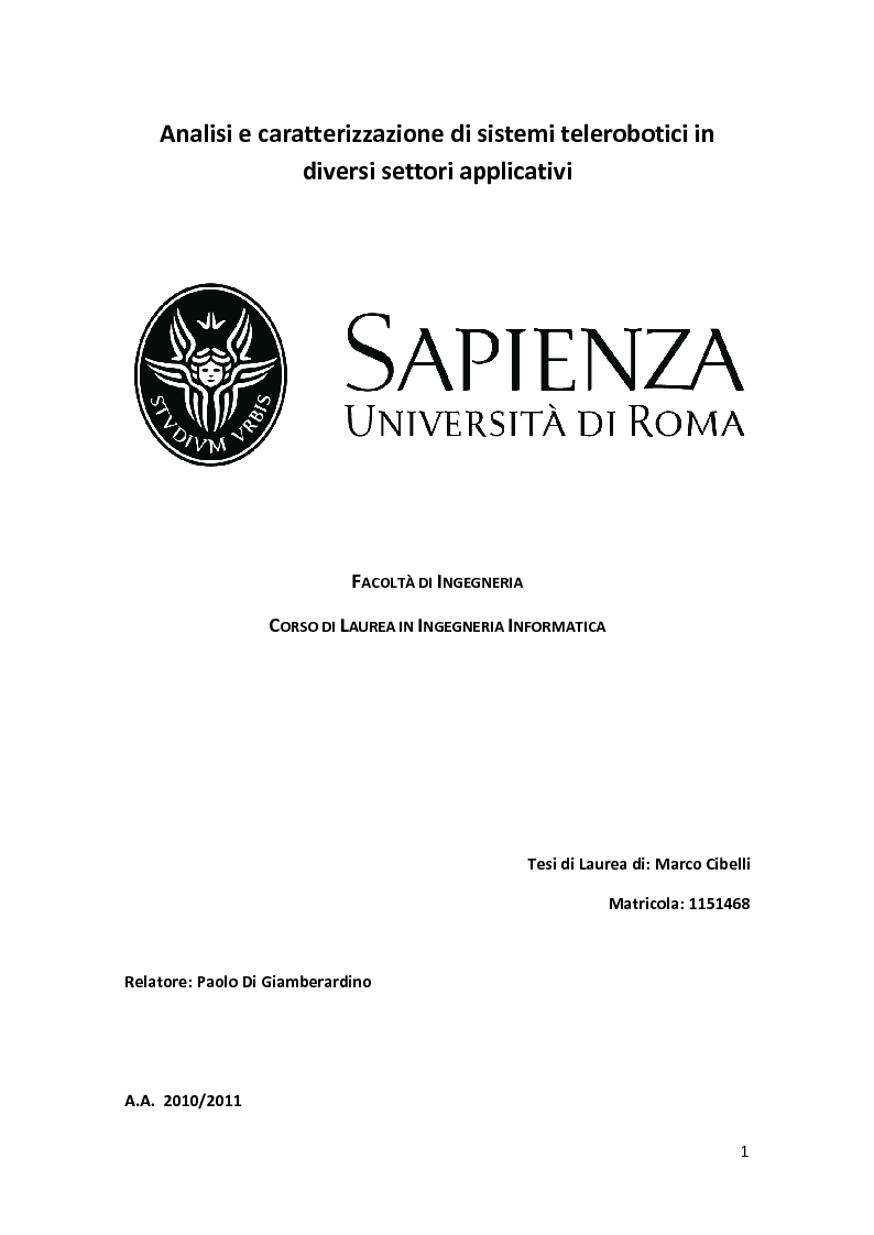 Anteprima della tesi: Analisi e caratterizzazione di sistemi telerobotici in diversi settori applicativi, Pagina 1