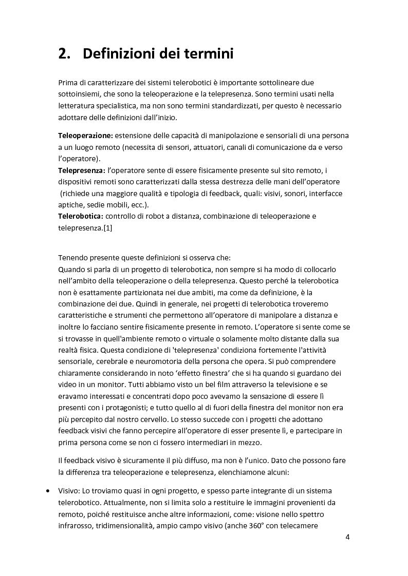 Anteprima della tesi: Analisi e caratterizzazione di sistemi telerobotici in diversi settori applicativi, Pagina 3