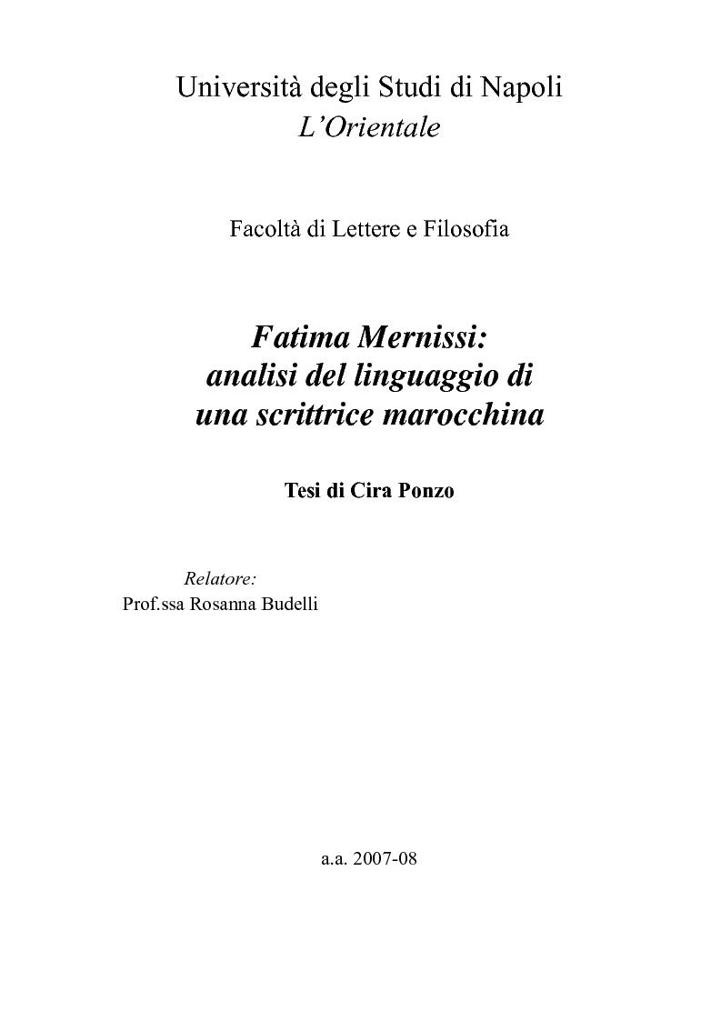 Anteprima della tesi: Fatima Mernissi: analisi del linguaggio di una scrittrice marocchina., Pagina 1
