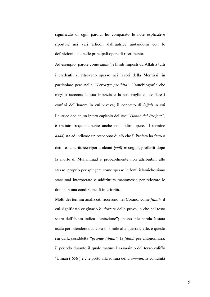Anteprima della tesi: Fatima Mernissi: analisi del linguaggio di una scrittrice marocchina., Pagina 4