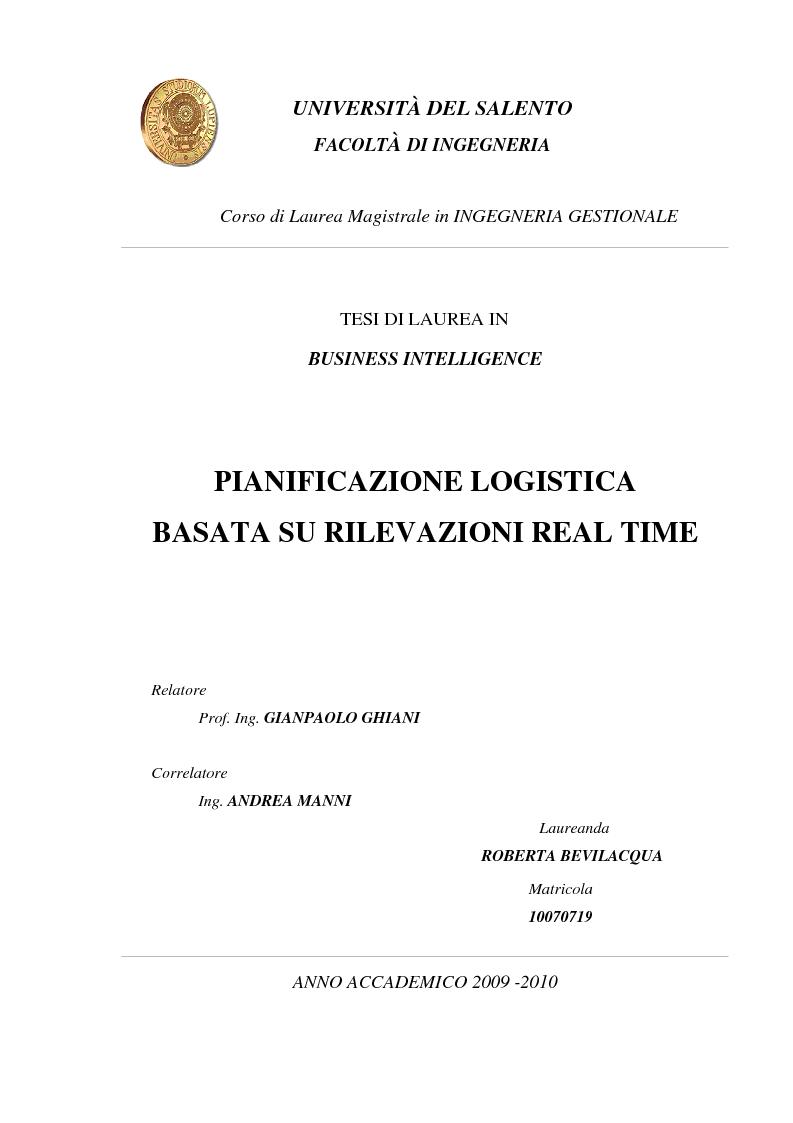 Anteprima della tesi: Pianificazione logistica basata su rilevazioni real time, Pagina 1