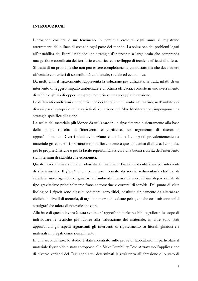 Anteprima della tesi: Valutazione dell'idoneità di materiale flyschoide da utilizzarsi per il ripascimento delle spiagge., Pagina 2