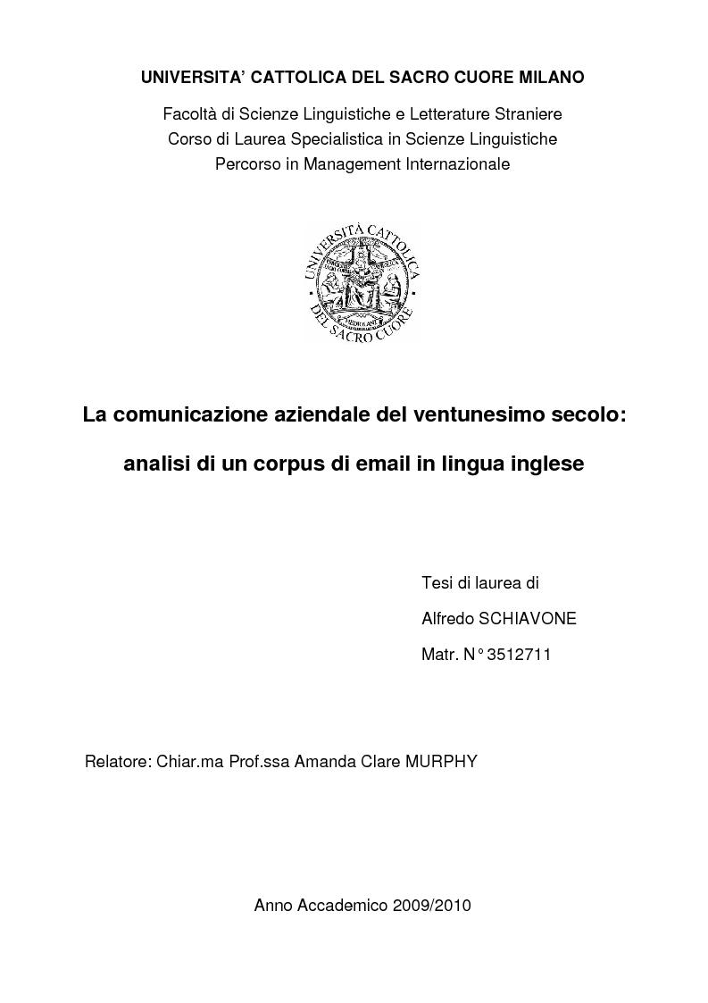 Anteprima della tesi: La comunicazione aziendale del ventunesimo secolo: analisi di un corpus di email in lingua inglese, Pagina 1