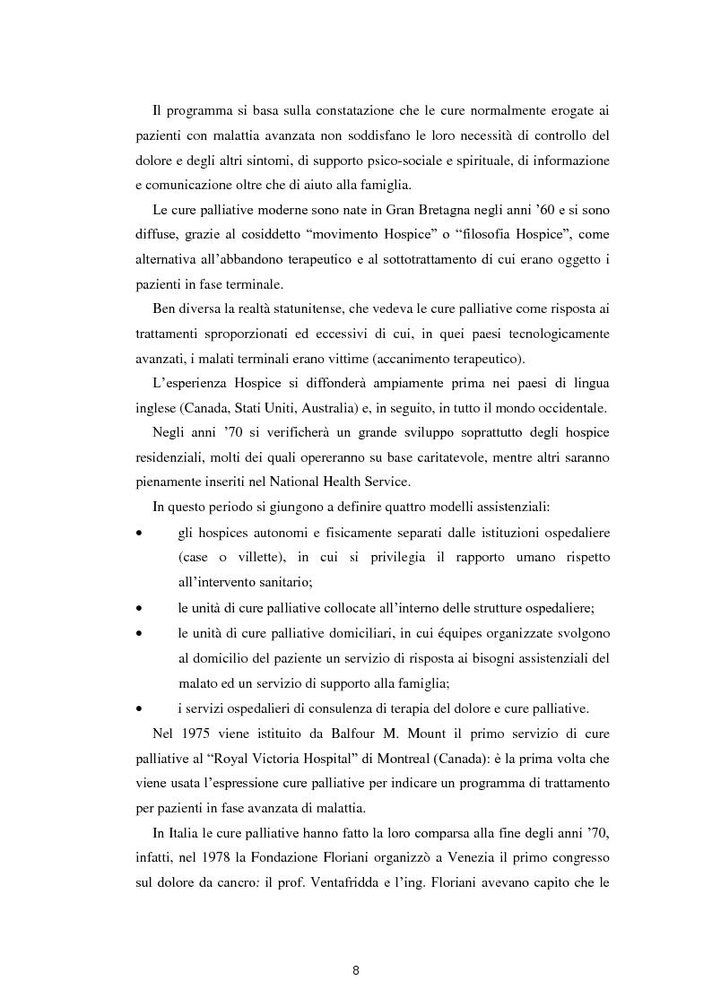 Anteprima della tesi: Psicologia e cure palliative. Storie famigliari di pazienti neoplastici in fase terminale., Pagina 12