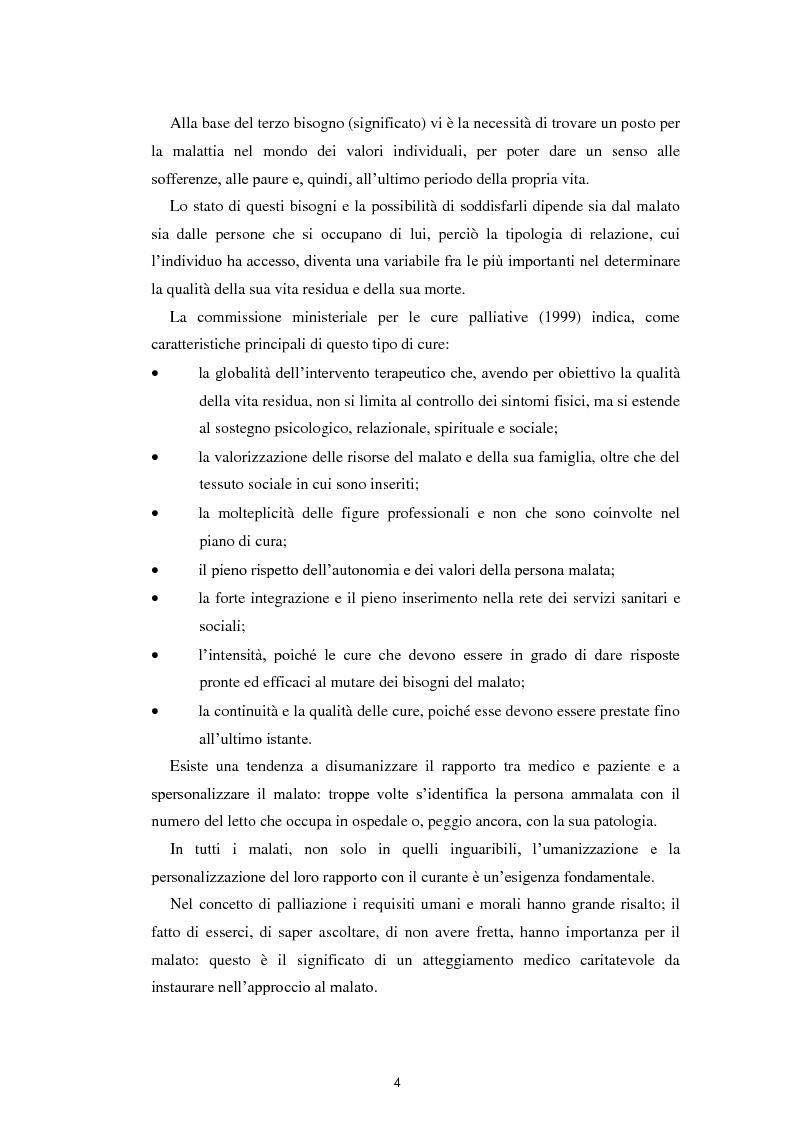 Anteprima della tesi: Psicologia e cure palliative. Storie famigliari di pazienti neoplastici in fase terminale., Pagina 8