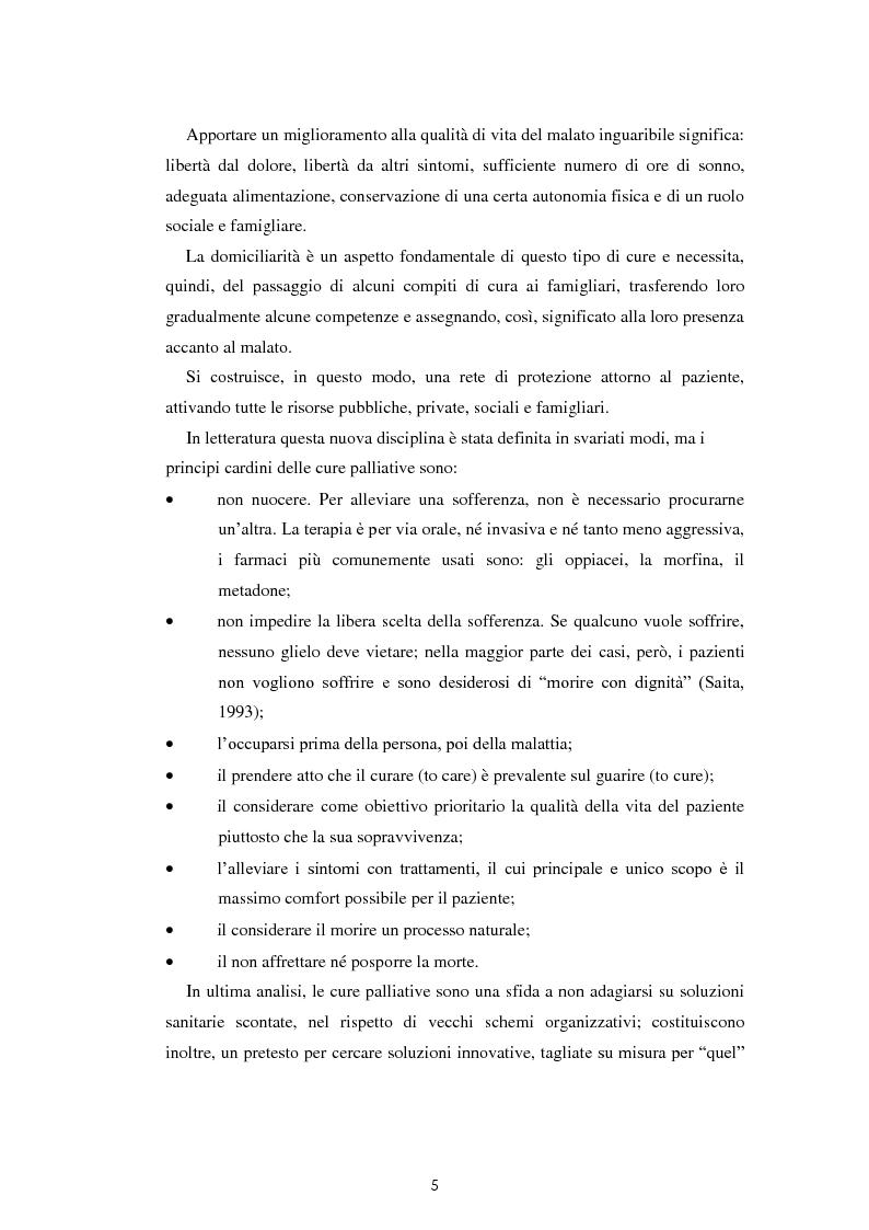 Anteprima della tesi: Psicologia e cure palliative. Storie famigliari di pazienti neoplastici in fase terminale., Pagina 9