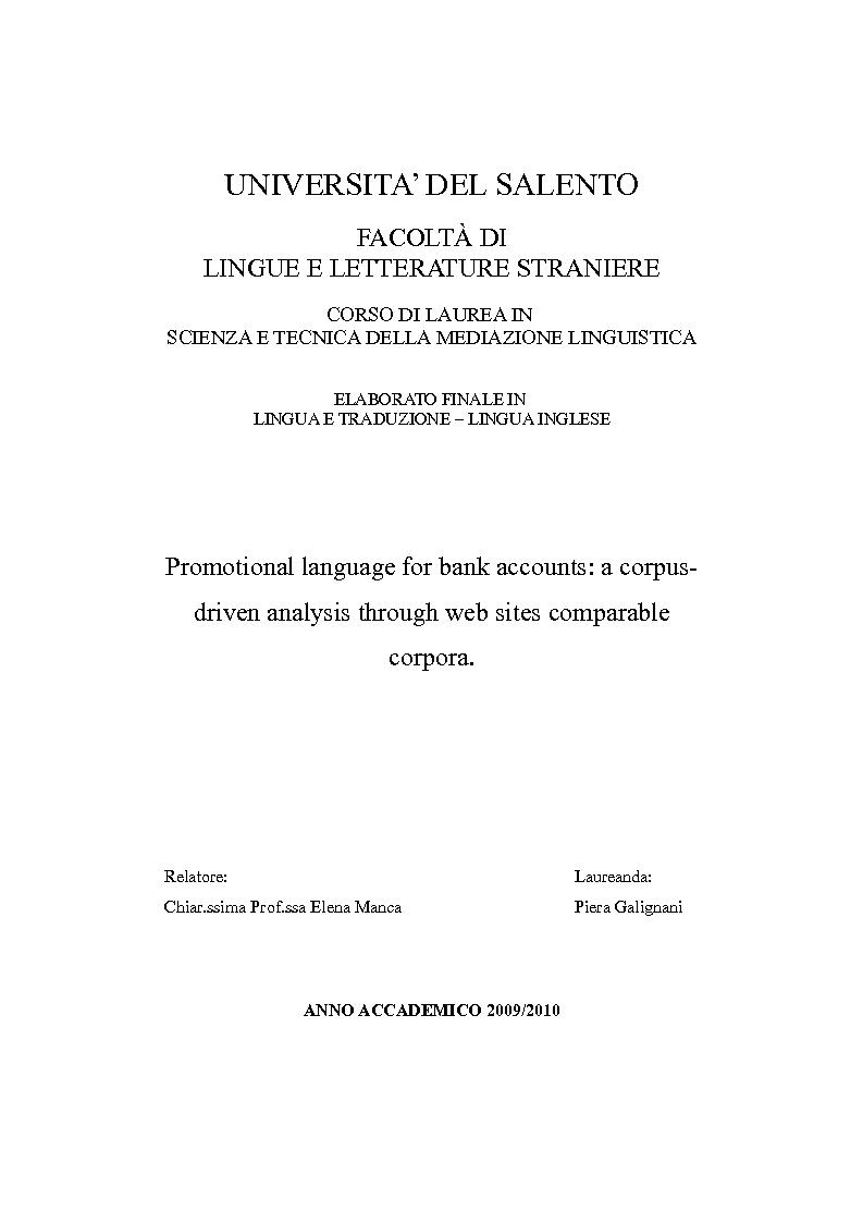 Anteprima della tesi: Promotional language for bank accounts: a corpus driven analysis through web sites comparable corpora., Pagina 1
