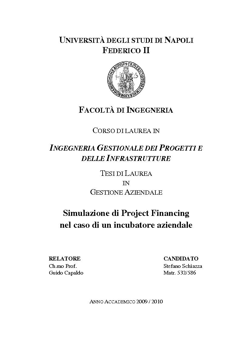 Anteprima della tesi: Simulazione di Project Financing nel caso di un Incubatore Aziendale, Pagina 1