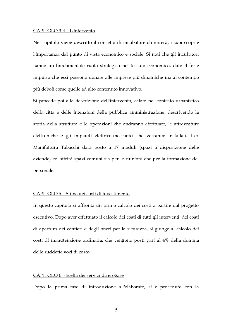 Anteprima della tesi: Simulazione di Project Financing nel caso di un Incubatore Aziendale, Pagina 6