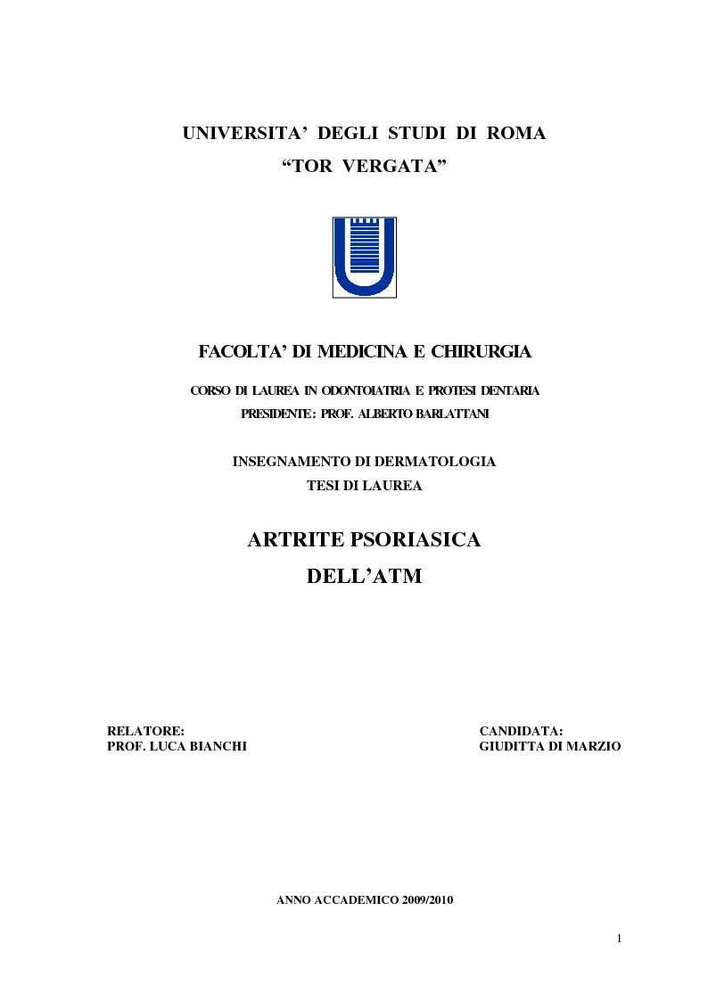 Anteprima della tesi: Artrite Psoriasica dell'ATM, Pagina 1