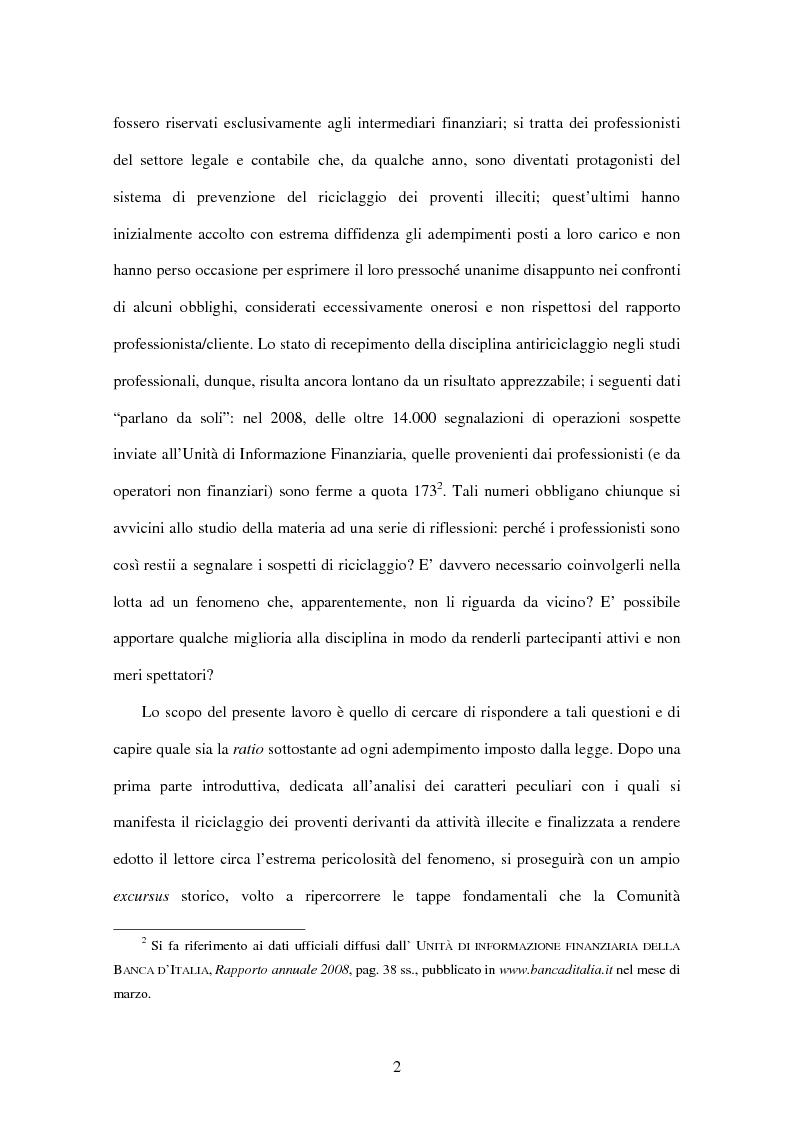 Anteprima della tesi: Gli adempimenti dei professionisti contabili per la prevenzione del riciclaggio, Pagina 3