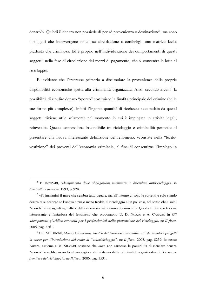 Anteprima della tesi: Gli adempimenti dei professionisti contabili per la prevenzione del riciclaggio, Pagina 7