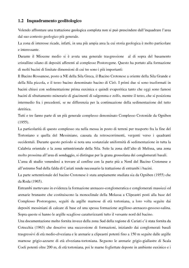 Anteprima della tesi: Caratterizzazione geologica e geotecnica di un sito per la realizzazione di un parco eolico, Pagina 3