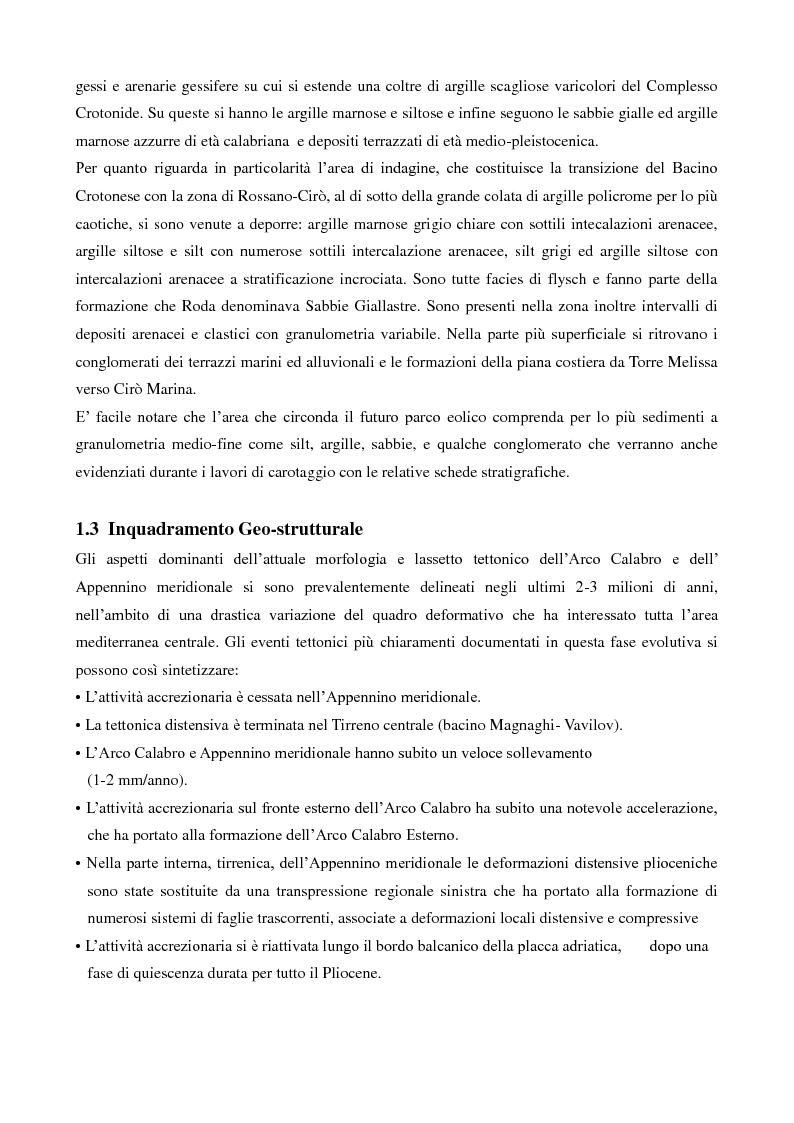 Anteprima della tesi: Caratterizzazione geologica e geotecnica di un sito per la realizzazione di un parco eolico, Pagina 4
