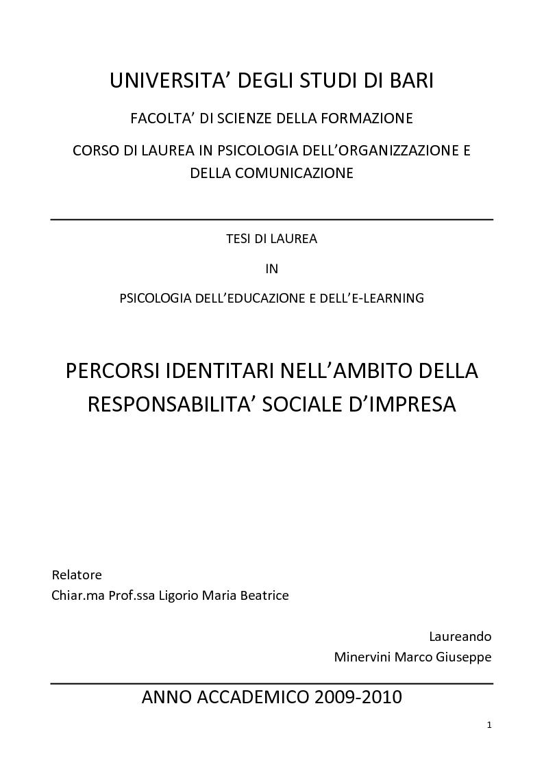 Anteprima della tesi: Percorsi identitari nell'ambito della Responsabilità Sociale d'Impresa, Pagina 1