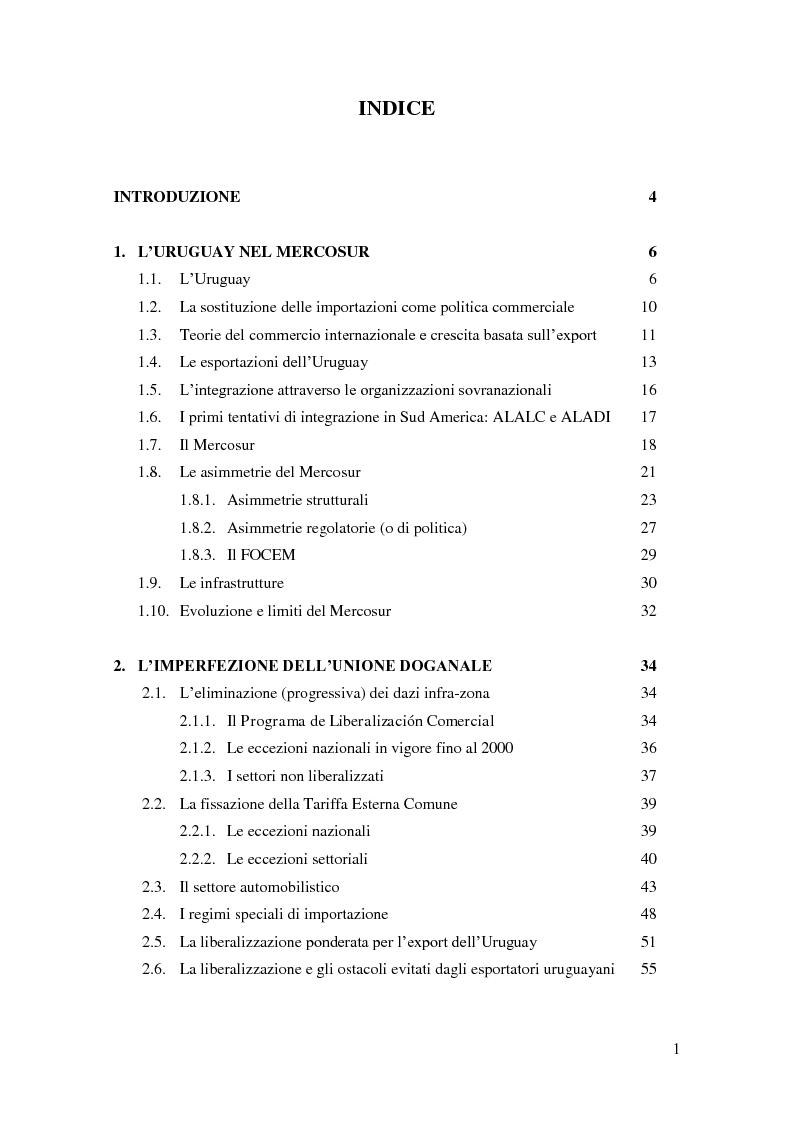 """Indice della tesi: Barriere non tariffarie ed altre """"imperfezioni"""" del Mercosur: implicazioni per l'Uruguay, Pagina 1"""