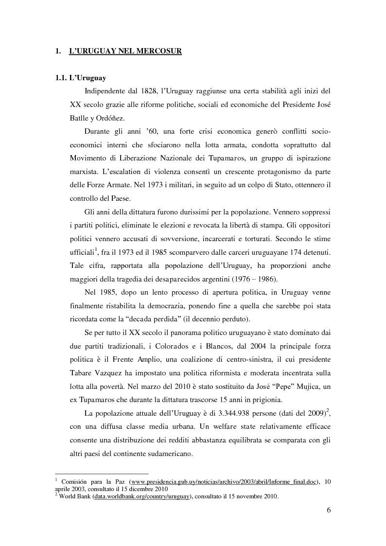 """Anteprima della tesi: Barriere non tariffarie ed altre """"imperfezioni"""" del Mercosur: implicazioni per l'Uruguay, Pagina 4"""