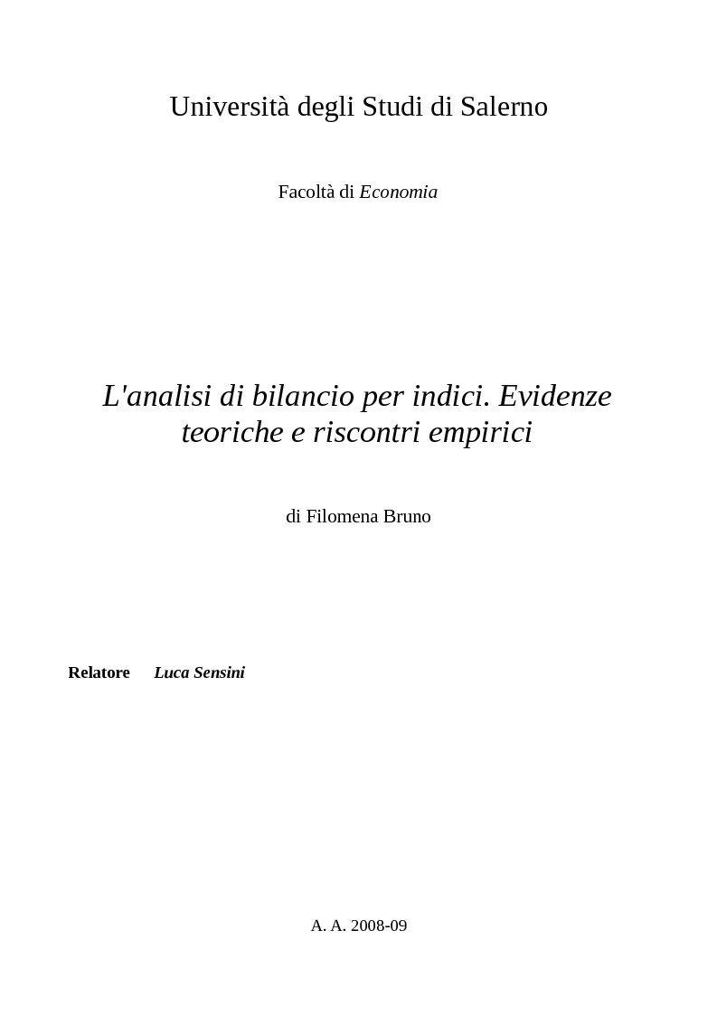 Anteprima della tesi: L'analisi di bilancio per indici. Evidenze teoriche e riscontri empirici, Pagina 1