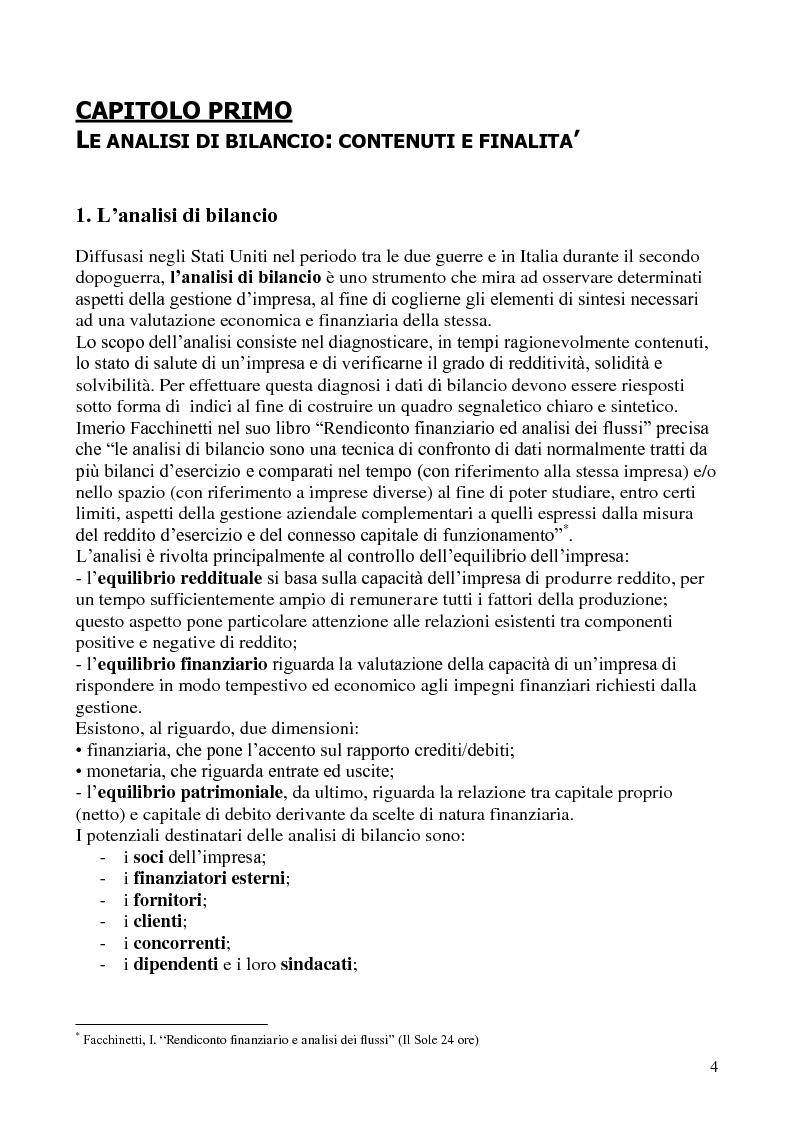 Anteprima della tesi: L'analisi di bilancio per indici. Evidenze teoriche e riscontri empirici, Pagina 3