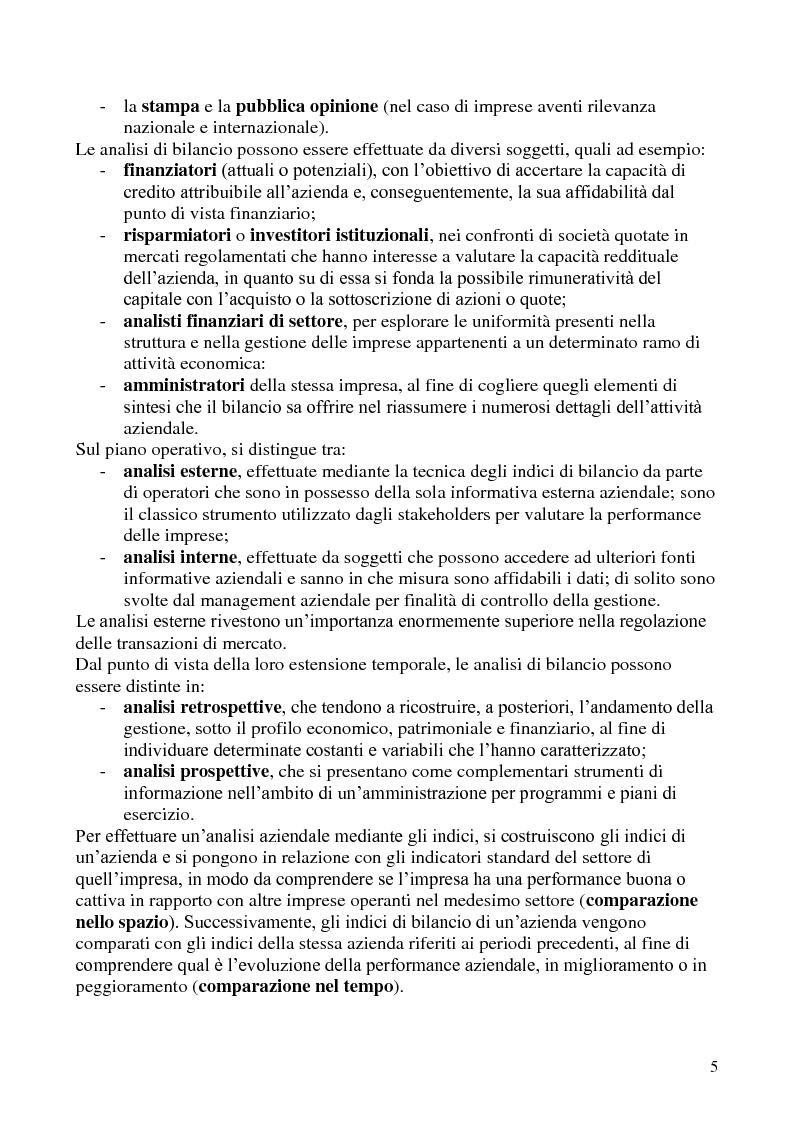 Anteprima della tesi: L'analisi di bilancio per indici. Evidenze teoriche e riscontri empirici, Pagina 4