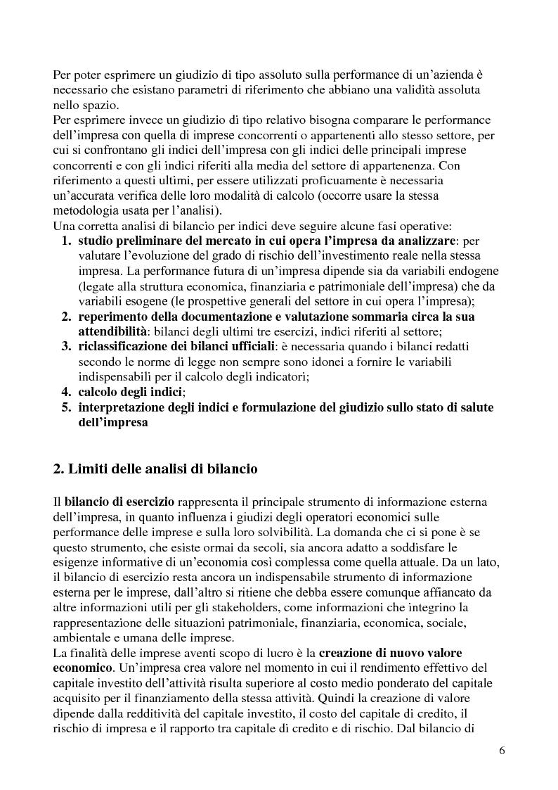 Anteprima della tesi: L'analisi di bilancio per indici. Evidenze teoriche e riscontri empirici, Pagina 5