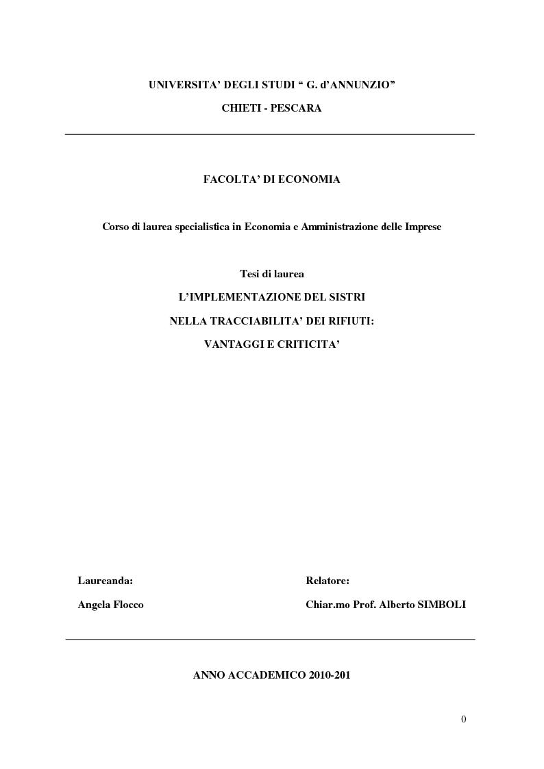 Anteprima della tesi: L'implementazione del SISTRI nella tracciabilità dei rifiuti: vantaggi e criticità, Pagina 1